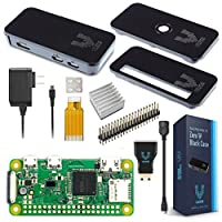 Vilros Raspberry Pi Zero W 基本初学者套装 - 黑色外壳版-包括 Pi Zero W - 电源和优质黑色外壳