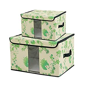 带盖的可折叠储物箱,储物篮 2 件套,配有透明窗户的大储物盒 花朵-绿 Box-S2-Window-Flower-Green