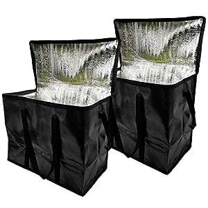 隔热可重复使用的食品购物袋冷热食品收纳盒,16.5 英寸长 × 8.6 英寸宽×12.9 英寸高,可折叠,可水洗,大容量立方体加固手提包 黑色
