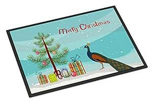 Caroline's Treasures 印*安孔雀豌豆图案圣诞节门垫,60.96 厘米 x 91.44 厘米,多色