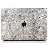 WOODWE Real Stone Macbook 硬质保护壳 | 适用于 Mac Pro 15 英寸 Retina 显示屏/白色苹果徽标 | 2012 年中部 - 2015 年中| 天然银灰色宝石