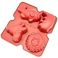 Freshware CB-901RD 4-Cavity Silicone Lion, Giraffe, Rhino and Fish Muffin, Cupcake, Brownie, Cornbread, Cheesecake, Pudding and Soap Mold