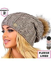 Braxton 女士针织帽 - 羊毛毛球帽 - 冬季美利奴羊毛滑雪帽 深咖啡色 One size for all (56-59 sm) 43230-30794