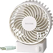 Rhythm 台式风扇 USB电源 静音 Silky Wind S 白色 9ZF017RH03