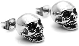 Xusamss 嘻哈 黑色 不锈钢 骷髅 耳钉