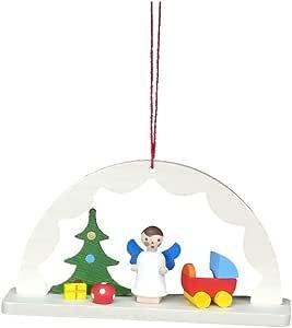 10-0818 - Christian Ulbricht 装饰品 - 拱形与天使和玩具 - 5.08 cm 高 x 8.89 cm 宽 x 2.54 cm 深