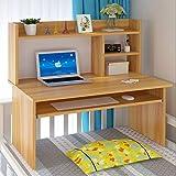 京好 书桌 现代简约环保大学生寝室电脑桌 宿舍书桌A127 (80cm新浅胡桃色带键盘板)
