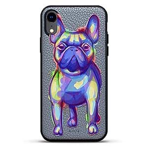 All Things Elon:When Something is Important。 Musk Quote | 豪华皮革系列修身版手机壳带真皮背面 & 3D 印花设计,适用于 iPhone XR(15.24 厘米)石灰色LUX-IRLTR2GR-MWDOG1 动物 ANIMALS: Trippy Dog Design