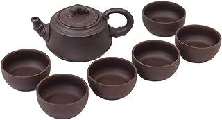 Dahlia Zisha 7 件套 Gongfu 茶具套装 礼盒(茶壶+6 茶杯) 竹子色