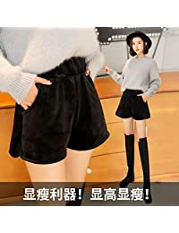 DaiQimi 黛琪迷 秋冬季新款金丝绒阔腿短裤女三分丝绒宽松外穿休闲裤子