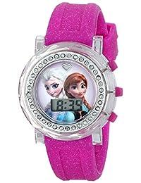 Disney 儿童 FZN3580 冰雪奇缘 Anna 和 Elsa 闪光表盘手表带闪光粉色橡胶带