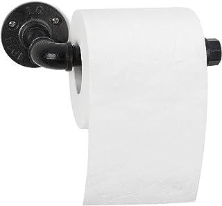 JS NOVA JUNS 工业卫生纸架,纸塔支架,壁挂式,复古铁管卷纸架,适用于浴室,厨房,黑色