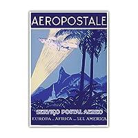 "Aéropostale - Servico Postal Aereo(航空邮件服务) - 欧洲,非洲,苏尔美洲(南美洲) - Latécoère 28 Mail Plane - 复古航空旅行海报 c.1930s - 艺术版画 13"" x 19"" PRTC4474"