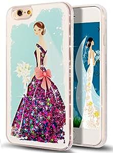 iPhone 6S 手机壳 nsstar iphone 6s 保护套15.24cm  Liquid 保护套适用于 iphone 6s 保护套适用于 iphone 6s 硬质手机壳适用于 iPhone 6S 时尚创意设计飘逸 Liquid 浮动奢华闪亮闪亮爱心硬质保护套适用于苹果 iPhone 6s ( 2015) / iphone 6( 2014) Bride Wedding Dress:Hot Pink