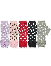 ALLYDREW 5 件装波尔卡圆点、荷叶边和条纹婴儿腿套加热器 适合男孩和女孩