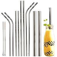 Youngever 可重复使用不锈钢吸管,金属吸管,带 2 个超宽吸管,适用于冰沙和泡茶,便携袋,20 盎司和 30 盎司玻璃杯吸管 银色