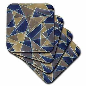 CST 29122Yves Creations 抽象–蓝色米色复古几何–杯垫
