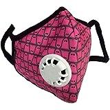 Vogmask 纤维过滤带呼吸阀和活性炭层口罩L(粉色网格)(黑色边和白色边随机发货)