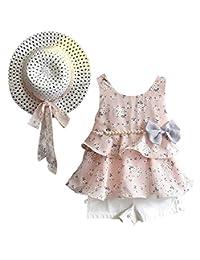 loliswan 3件套小女孩夏季服装衣服花卉背心 t 恤上衣 + 短裤 + 太阳帽集
