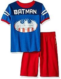 Warner Brothers 男童 2 件蝙蝠侠 T 恤和斜纹短裤套装