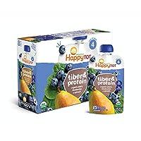 Happy Tot 階段4 幼兒輔食 纖維和蛋白質梨藍莓&菠菜,1袋4盎司(113g)(16包) 3g蛋白質&纖維,無乳制品無麩質 猶太潔食 無添加糖(包裝可能變化)