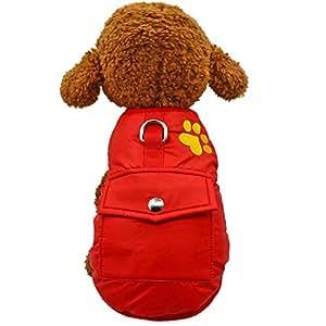 ASIR 房屋寒冷天气狗狗背心双层防水防风小狗夹克冬季保暖衣服 中号 红色 XL
