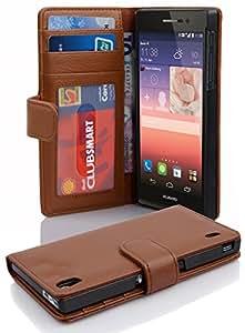 Cadorabo 手机壳与华为 P7(设计书结构)配合使用 - 带有 2 个卡槽 - 钱包式手机壳 Etui 盖袋 PU 皮革翻盖DE-101026 SADDLE-BROWN