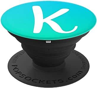 白色字母 K 交织字母,湖*薄荷渐变 PopSockets 手机和平板电脑握架260027  黑色
