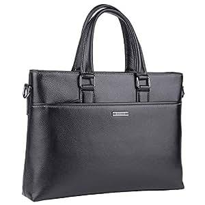 Banuce 皮革公文包男式手提包笔记本电脑商务包旅行手提包单肩斜挎包RTBM030-BK 均码