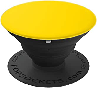 亮黄色纯色背景定制设计 - PopSockets 手机和平板电脑握架260027  黑色