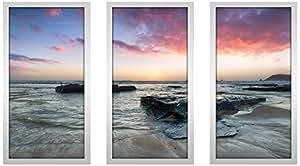 "Picture Perfect International 704-2227-1224 ""Shore Thing"" Framed Plexiglass Wall Art, Set of 3, 13.5"" W x 25.5"" H x 1"" D"