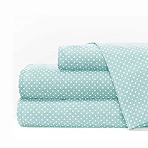 Egyptian Luxury 1600 Series Hotel Collection Pindot Pattern Bed Sheet Set - Deep Pockets, Wrinkle and Fade Resistant, Hypoallergenic Sheet and Pillowcase Set - Queen - Aqua/White