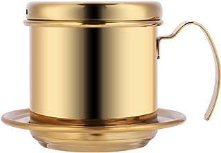 滴滤咖啡壶 - Dewin 不锈钢滴滤咖啡机,便携式,适用于家庭,厨房,办公室,户外,3 种颜色(颜色:金色)