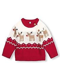 mimixiong 婴儿圣诞毛衣 幼儿驯鹿服装 红色衣服