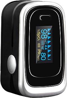 Tomorotec 指尖脉搏血氧仪血氧饱和度监测仪,带硅胶套、电池和挂绳(黑色)