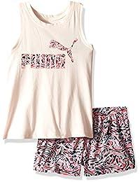 Puma 女童 T 恤和网眼短裤套装 2 件套