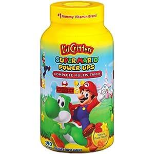 L'il Critters 丽贵小熊糖 超级马里奥兄弟 多种维生素软糖, 190 粒 (包装可能会变化)