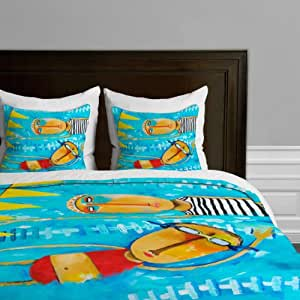DENY Designs Robin Faye Gates Swimming is Hard Duvet Cover, Twin