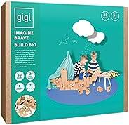 Gigi 大型积木,创意玩具,带 30 XL 积木,2 张可重复使用的粘合纸,蜡笔,2 张模板,送给男孩的精美礼物