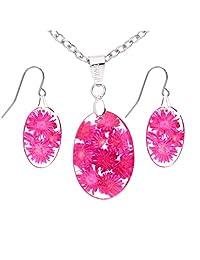 真花树脂耳环和项链套装 - 椭圆形 - 粉色