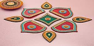印*安 Storeroom Diwali Floor Rangoli 设计,镶有宝石和亮片传统节日家居装饰 Red and Green 2