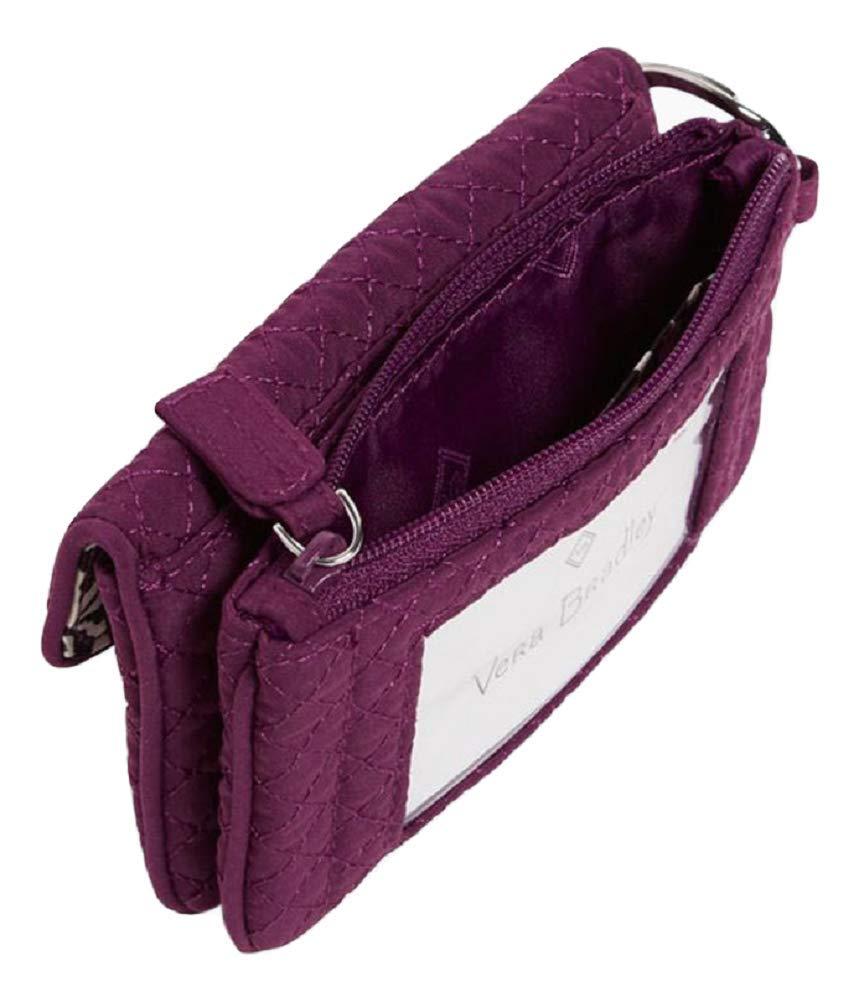 Vera Bradley 标志性 Jen 拉链 ID Gloxinix 紫色超细纤维