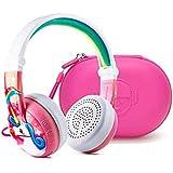 儿童无线蓝牙耳机 - BuddyPhones Wave - 儿童*音量限于 75、85 或 94 dB - 可折叠防水,24 小时电池寿命 - 可选音频共享电缆BP-BT-WV-UNICORN-C