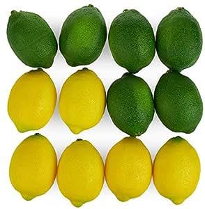 Haiker Fake 水果家居厨房派对装饰婚礼摄影模拟仿真柠檬 12 件套 黄色和绿色 Green Yellow Lemon-6+6