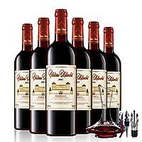 【14度红酒,30年老藤葡萄,橡木桶陈酿】法国原瓶进口红酒 波尔多AOC级 布兰特酒庄干红葡萄酒整箱装 买就送醒酒器+酒具3件套
