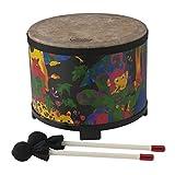 Remo 儿童敲打乐器,落地鼓,直径为 10,带鼓槌,热带雨林面料图案
