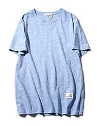 SYCP MAN 2018夏季新款纯色竹节棉简约T恤男经典圆领贴布短袖T恤男纯棉