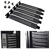 PCI 插槽盖防尘过滤器 5 件装,硬钢防尘过滤器空白板 PCI 插槽盖和 5 件螺丝(黑色)
