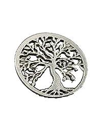 生命之树锡翻领别针,胸针,珠宝,A1032 古银色(Antique Pewter)