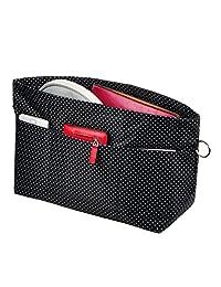 Vercord 手提包钱包 手提包 口袋书收纳包 插入拉链 假想 11 个口袋 黑色圆点 Small